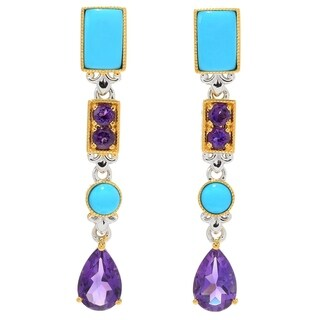 Michael Valitutti Palladium Silver Sleeping Beauty Turquoise & African Amethyst Dangle Earrings