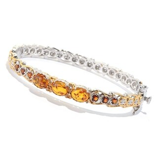 Michael Valitutti Palladium Silver Amber & Madeira Citrine Hinged Bangle Bracelet