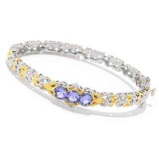 Michael Valitutti Palladium Silver Tanzanite 3-Stone Hinged Bangle Bracelet