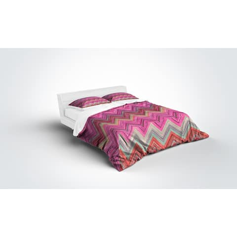 Kavka Designs Pink Chevron Light Weight Comforter By Marina Gutierrez