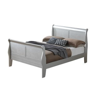Lyke Home Kendra Sleigh inspired Silver Wood Full Bed