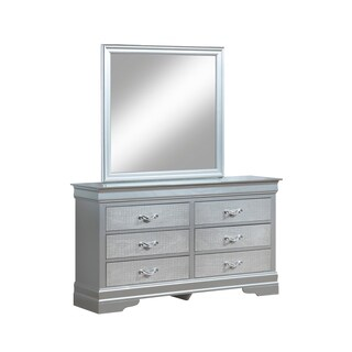 """LYKE Home Kendra """"Croc"""" Textured Dresser Mirror Set"""