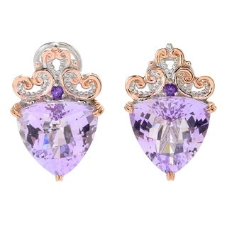 Michael Valitutti Palladium Silver Trillion Shaped Amethyst Earrings w/ Omega Backs