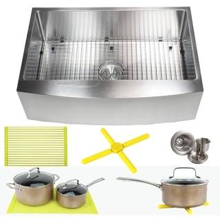 Ariel 33 Inch Farmhouse Apron Stainless Steel Kitchen Sink 16Gauge Curve Front Single Bowl Sink Pack + Bonus Kitchen Accessories