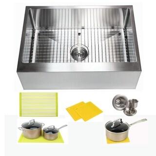 Ariel 30 Inch Farmhouse Apron Stainless Steel Kitchen Sink 16 Gauge Flat Front Single Bowl Sink Pack + Bonus Kitchen Accessories
