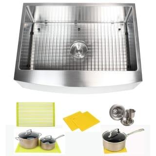Ariel 30 Inch Farmhouse Apron Stainless Steel Kitchen Sink 16Gauge Curve Front Single Bowl Sink Pack + Bonus Kitchen Accessories