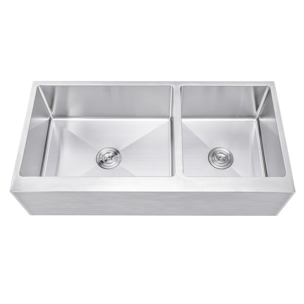 Ariel 42 Inch 60/40 Offset Double Bowl Stainless Steel Farmhouse Sink    Flat Apron