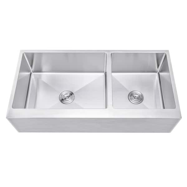 Shop Ariel 42 Inch 60/40 Offset Double Bowl Stainless Steel ...