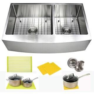 Ariel 36 Inch Farmhouse Apron Stainless Steel Kitchen Sink 16Gauge Curve Front Double Bowl Sink Pack + Bonus Kitchen Accessories