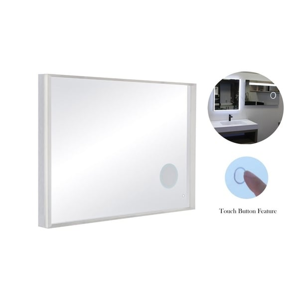 49 X 34 Wall Mount Led Bathroom Mirror Touch On Dual Light With Magnifier