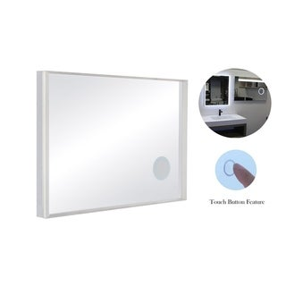 "49"" x 34"" Wall Mount LED Bathroom Mirror Touch Button Dual Light with Magnifier"