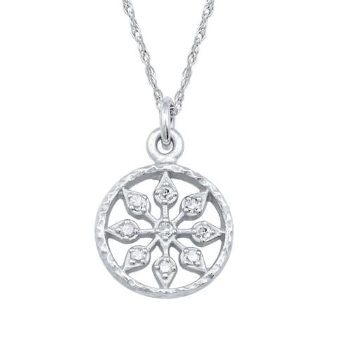 Viducci 10k White Gold Vintage Style Medallion Diamond Necklace
