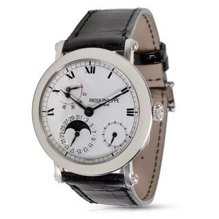 Patek Philippe 5054P Men's Watch with Date and Moonphase in Platinum|https://ak1.ostkcdn.com/images/products/17677096/P23885778.jpg?impolicy=medium