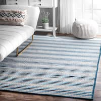 nuLoom Casual Handmade Braided Pinstripes Blue/White Rug (7'6 x 9'6)
