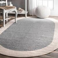 nuLoom Grey Solid Border Oval Casual Handmade Braided Rug (6' x 9')