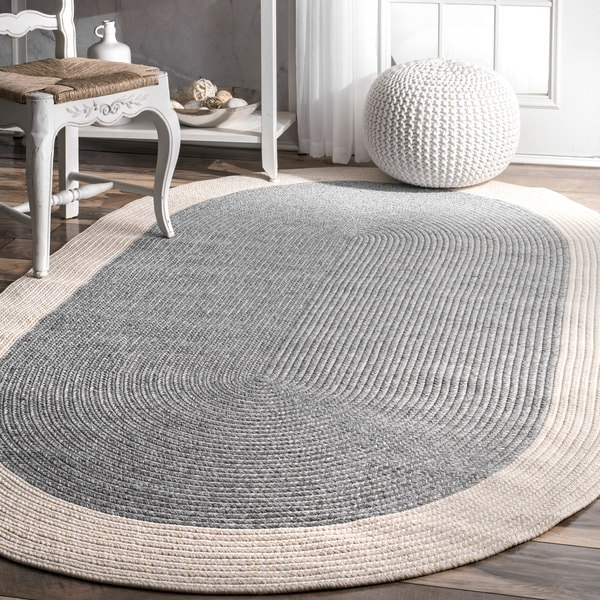 Nuloom Grey Solid Border Oval Casual Handmade Braided Rug