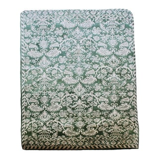 Oriental Hand-tufted Green and Beige 100% Wool Area Rug (9'6 x 13'6)