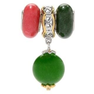 Michael Valitutti Palladium Silver Set of Three Green Agate Drop & Quartz Bead Slide-on Charm