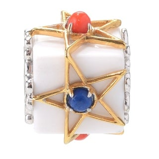 Michael Valitutti Palladium Silver White Agate, Red Coral & Lapis Lazuli Slide-on Cube Charm