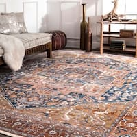 Gracewood Hollow Lapointe Medallion Border Rust Rug - 6'7 x 9'4