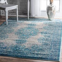 "nuLOOM Transitional Vintage Abstract Blue Rug  (6'7 x 9') - 6'7"" x 9'"