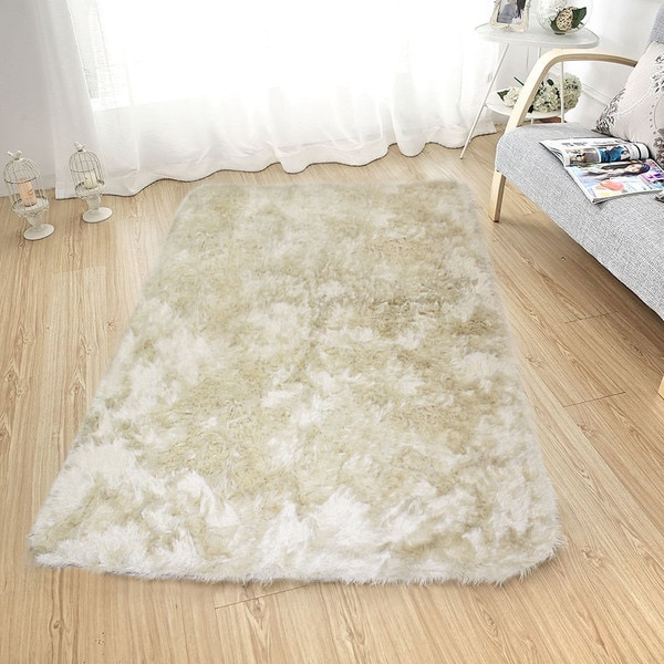 "Soft Fluffy Thick Solid Ivory Non-Skin Shaggy Shag Pile Area Rug Carpet (2'6"" x 7'3"")"