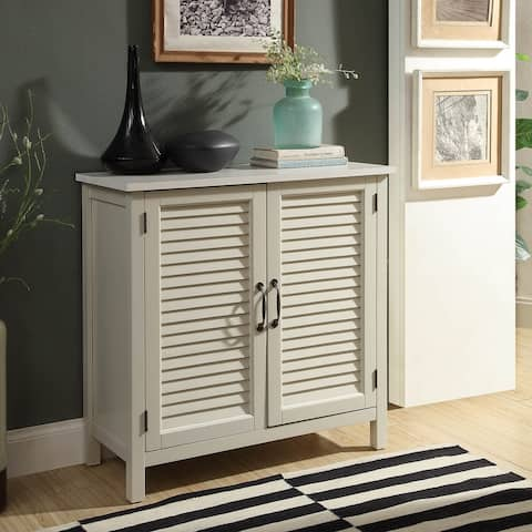 Gracie Wood Cabinet With Wood Shutter Style Doors