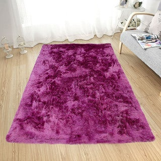Soft Fluffy Thick Solid Hot Pink Non-Skid Shaggy Shag Pile Area Rug Carpet