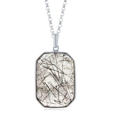 """La Preciosa Sterling Silver Large Faceted Black Rutilated/Strawberry Quartz /Prehnite Hexagon Pendant 18+2"""" Necklace"""