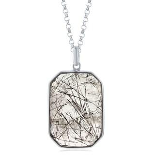 "La Preciosa Sterling Silver Large Faceted Black Rutilated/Strawberry Quartz /Prehnite Hexagon Pendant 18+2"" Necklace (3 options available)"