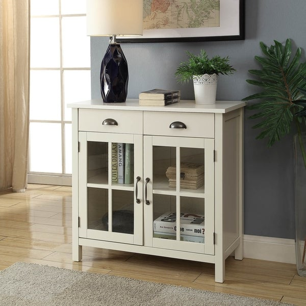Gracie Wood Cabinet With Glass Panel Doors