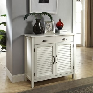Gracie Wood Cabinet With Wood Shutter Doors and Upper Storage Drawers