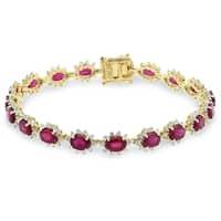 Auriya 14k Gold 13 5/8 Ruby and 2ct TDW Diamond Bracelet - Red