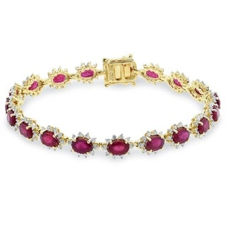 Auriya 14k Gold 13 5/8 Ruby and 2ct TDW Diamond Bracelet - Red