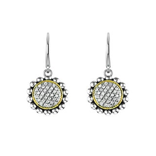 Sophisticated Sunflower Silver Earring with 14k Gold Wire