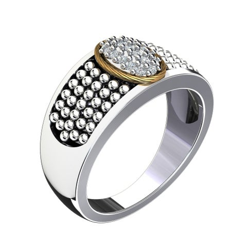 Lovely 14k Gold and Sterling Silver Ring with Swarovski Crystals with Father's Day, Birthday and Anniversary