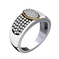 Lovely 14k Gold and Sterling Silver Ring with Swarovski Elements Crystals