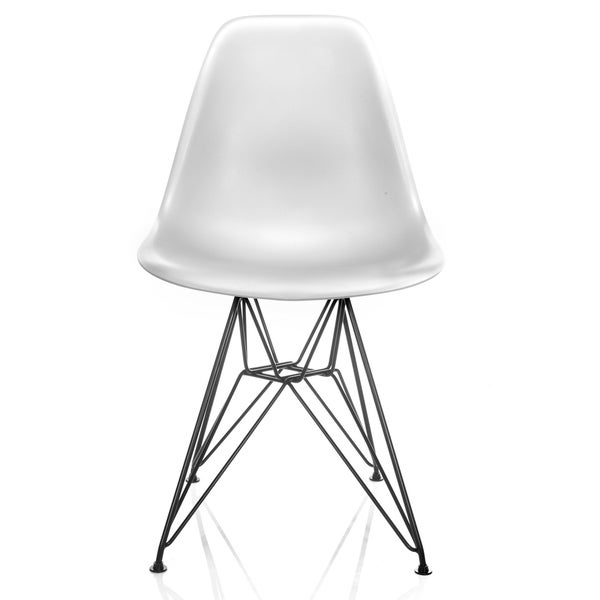 DSR Molded White Plastic Dining Shell Chair With Black Eiffel Steel Leg