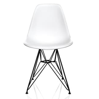 Link to Nature Series White Wood Grain DSR Mid-Century Modern Dining Accent Side Chair with Black Eiffel Steel Leg Similar Items in Dining Room & Bar Furniture