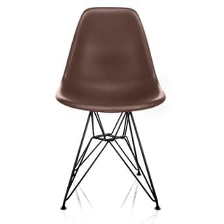 Nature Series Brown Wood Grain DSR Mid-Century Modern Dining Accent Side Chair with Black Eiffel Steel Leg