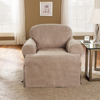 Sure Fit Soft Suede One Piece T-Cushion Chair Slipcover