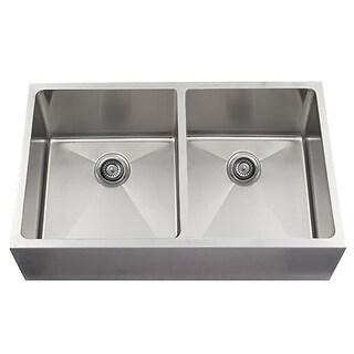 Soci 50/50 Handmade Stainless Steel 2-basin Undermount Kitchen Sink With Flat Apron