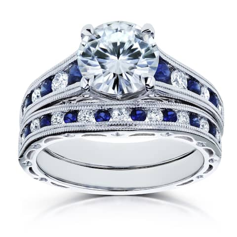 Annello by Kobelli 14k White Gold 2 7/8 Carats TGW Forever One Moissanite (DEF) with Diamond and Sapphire Bands 2pc Bridal Set