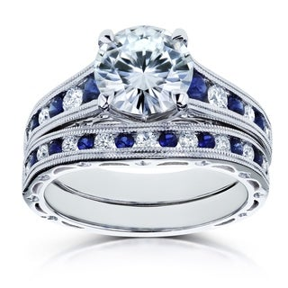 Annello By Kobelli 14k White Gold 2 7 8 Carats TGW Forever One Moissanite DEF With Diamond And Sapphire Bands 2pc Bridal Set