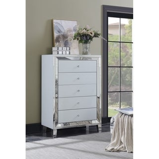 White Lacquer 5-drawer Chest with Mirror Trim