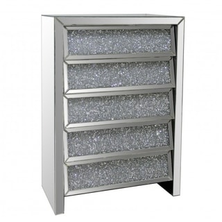 Best Quality Furniture Mirrored 5-drawer Chest with Crystal Accents