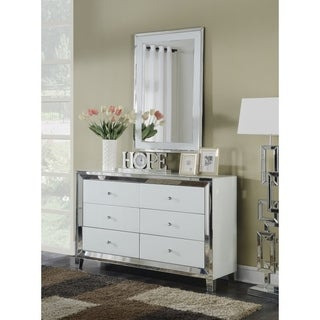 White Lacquer 6-drawer Dresser with Mirror Trim