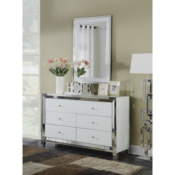 Shop Best Quality Furniture White Lacquer 6 Drawer Dresser With