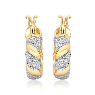 Marabela Yellow Gold Overlay Two-Tone Diamond Accent Hoop Earrings (20mm)