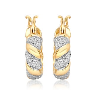 Marabela Yellow Gold Overlay Two-Tone Diamond Accent Hoop Earrings (20mm)